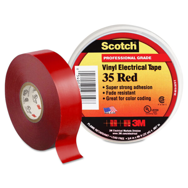 3M SCOTCH VINYL COLOR CODING ELECTRICAL TAPE 35 red 3M SCOTCH VINYL COLOR CODING ELECTRICAL TAPE 35 (Pack of 10)