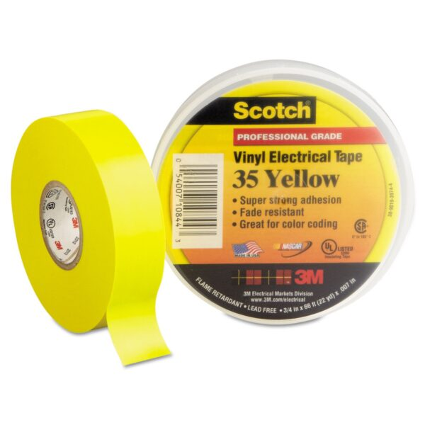 3M SCOTCH VINYL COLOR CODING ELECTRICAL TAPE 35 yellow 3M SCOTCH VINYL COLOR CODING ELECTRICAL TAPE 35 (Pack of 10)