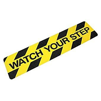 """Watch your step Safety Track Yellow/Black, Tread 6″x24″ """"Watch Your Step"""" 6 Pack"""