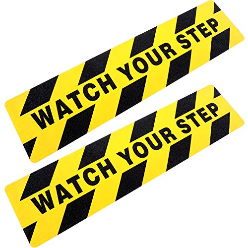 """Watch your step1 Safety Track Yellow/Black, Tread 6″x24″ """"Watch Your Step"""" 6 Pack"""
