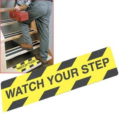 """Watch your step2 Safety Track Yellow/Black, Tread 6″x24″ """"Watch Your Step"""" 6 Pack"""