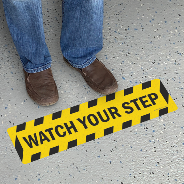 """watch your step floor sign sf 0245 Safety Track Yellow/Black, Tread 6″x24″ """"Watch Your Step"""" 6 Pack"""